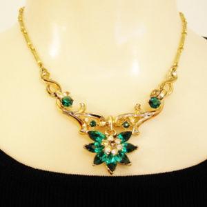 Vintage Coro Necklace-Green-Crystal Rhinestones
